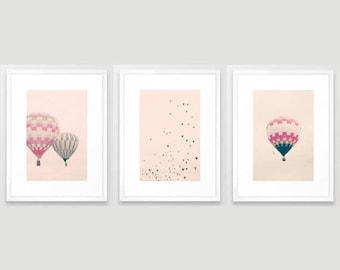 Girl nursery decor girl, hot air balloon nursery, girl nursery wall art girl, toddler girl room decor, nursery prints framed wall art canvas