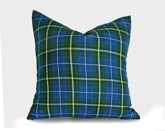 Blue Lodge Pillows, Blue Plaid Pillow, Plaid Pillow Cover, Tartan Pillows, Blue Green Pillows, Blue Throw Pillows, 10x16, 18, 20, 22, 24, 26