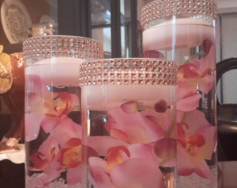 Bling Floating Candle Cylinder Set of 3 with mirror-Orchids-Anniversary-Party-Bridal Shower-Flowers-Wedding-Birthday-Engagement