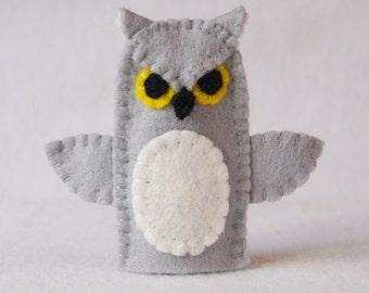 Owl finger puppet, felt finger puppet, owl felt finger puppet, finger puppet, owl puppet, owl, grey owl