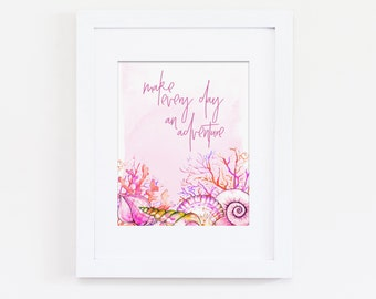 Make Every Day An Adventure Art Quote, Nautical Nursery Art, Adventure Nursery Art, Pink Nursery Art, Shell Art, Instant Download