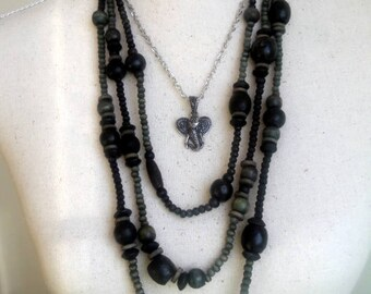 Boho wooden beaded long strand necklace, Black / Gray and silver tone elephant multi strand necklace