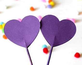 Heart Cupcake Toppers, purple heart, purple wedding, baby shower, bridal shower, purple birthday party,  purple event decor, graduation
