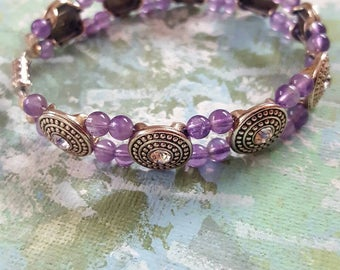 Amethyst and Swarovski Crystal Bracelet