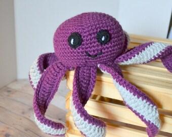 Purple Octopus, Amigurumi, Crochet Octopod, Stuffed Animal, Made to Order
