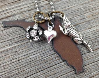 I Love FLORIDA Necklace |  Rustic Recycled Metal State Shape Pendant | Gator Shell Starfish Sea Horse Bucket Rhinestone