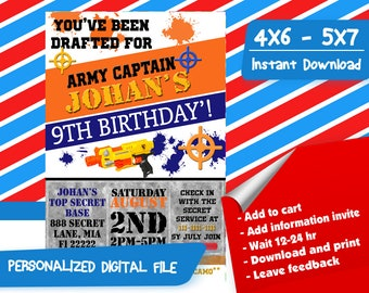 Nerf Invitation,Nerf Birthday Invitation,Nerf Party,Nerf Birthday Party,Nerf Printable,Gun War Invitation,Dart War Birthday Invitation-SL156