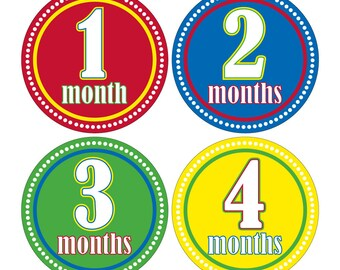 12 Monthly Baby Milestone Waterproof Glossy Stickers - Just Born - Newborn - Weekly stickers available - Design M002-01