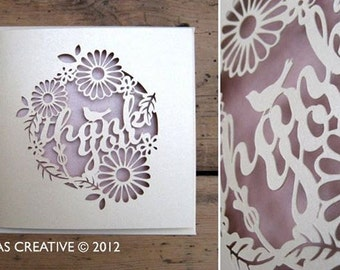 Papercut Template Thank You Cards Printable PDF JPEG for handcutting & SVG file for Silhouette Cameo or Cricut