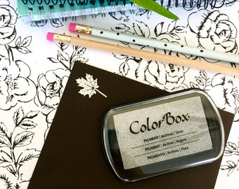 Metallic Silver Ink Pad - Colorbox Pigment Ink pad in Silver