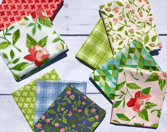 Hazelwood Fat Quarter Bundle by 1 Canoe 2 from Moda Fabrics, Floral, Geometric 100% cotton 9 Fat quarters