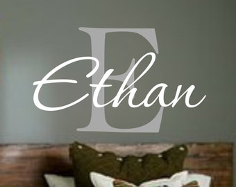 Name Decal - Personalized Monogram Kids Wall Decals - Boys Wall Decal- Name Vinyl Lettering - baby boy nursery wall decal