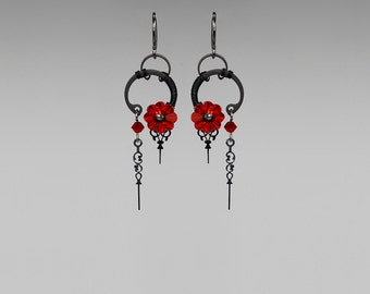 Red Swarovski Crystal Steampunk Earrings, Siam Swarovski, Crystal Earrings, Feminine Jewelry, Wire Wrapped, Youniquely Chic, Athena II v21