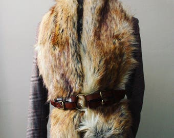 Faux Canadian Fox Fur Long Scarf - Fur Scarf