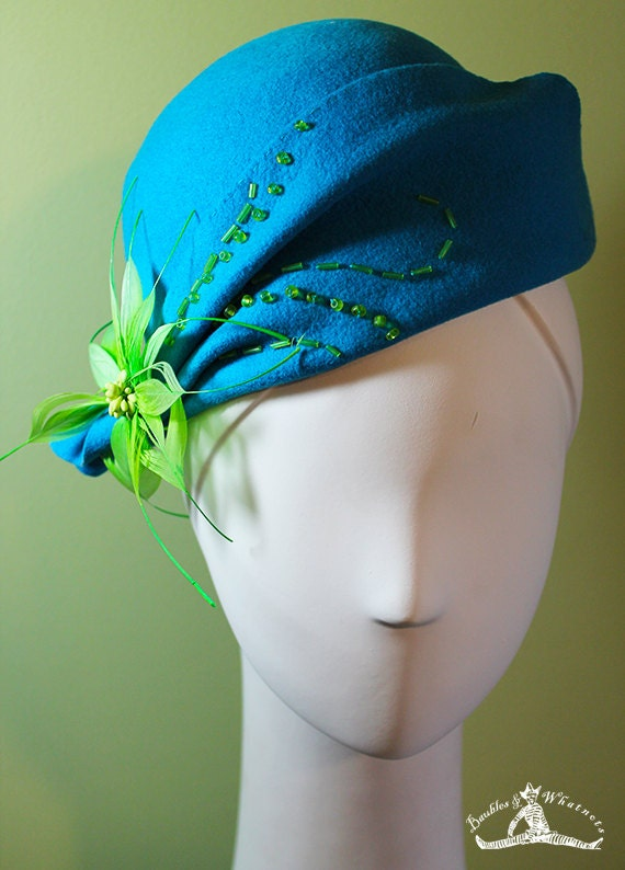 Women's Aqua Wool Cloche Hat - 1920s Style Women's Cloche - Unique Derby Cloche - OOAK