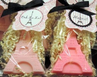 10 Eiffel Tower Soap Party Favors, Bridal Shower Favors, Baby Shower Favors, Birthday Party Favors, Paris Party, Spa Party