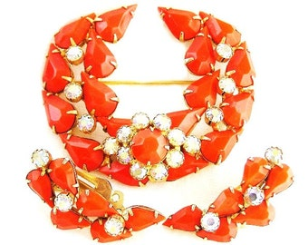 Continental Orange and White Brooch Earring Set