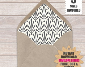 Art Deco ENVELOPE LINERS  | Art Deco Pattern Of Slate Gray And Off White Background | 5 Sizes - a9, a7, a6, a2 and 4 Bar | Download & Print