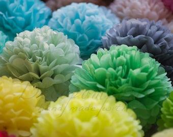 21 mixed size tissue paper Pompoms set - pick your colors - fullest pompoms