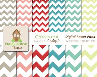 Chevron Digital Paper Pack | Aqua, Teal, Red, Khaki Chevron | Digital CU | Instant Download | Digital Scrapbooking | Vintage Color Chevrons