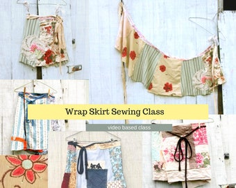 Sewing Classes, Upcycled Sewing, Wrap Skirt, Refashion, Repurposed, Sew, Online Class, Boho, Sewing 101, Tutorials, Vintage, Patterns, Plus
