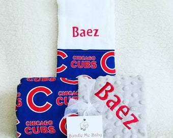 Chicago Cubs Baby Blanket Toddler Minky NAME Embroidered Gift Set Large Minky PERSONALIZED Baby Boy and Girl Gift Set