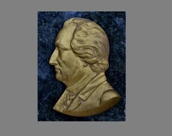 Relief, GOETHE, german author, gildet bronze on granit