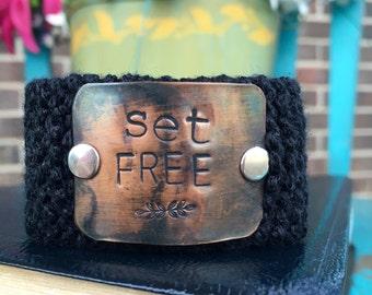 Black Set Free Christian Bracelet, Wrist Tattoo Cover, Scripture Jewelry, Custom Hand Stamped Cuff Bracelet