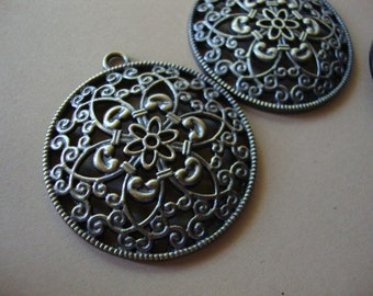 Large filigree pendant antique brass finish jewelry crafting supplies necklace embellishments jewelry making findings