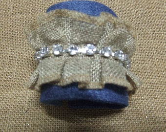 Denim  and Lace decorated Cuff Braclete