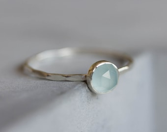 Aquamarine ring - skinny stackable ring with rose cut Aquamarine stone, March birthstone, sterling silver, 9k gold