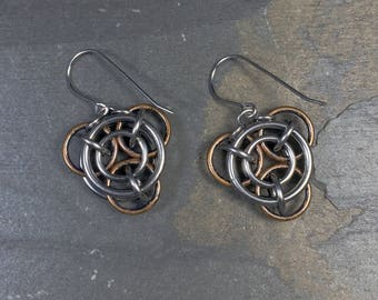 Mechanika Earrings Surgical Stainless Steel and Aged Bronze Steampunk Chainmaille