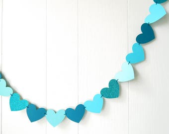 Ready to Ship Aqua and Teal Heart Garland / Wedding Decoration / Love Bunting / Anniversary Decor / Photo Prop / Adjustable Hand Sewn