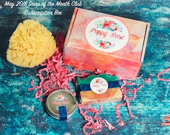 Soap of the Month Club!   May 2018 Subscription Box   Sea Sponge   Olive Oil   Cold Process Soap   Limited Edition