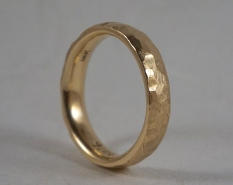 Mens rustic hammered gold wedding band in solid 14k yellow gold