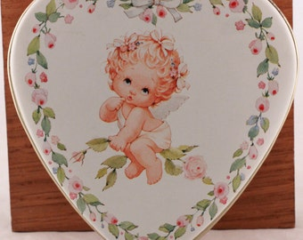 """New Vintage 1985 Old Stock Set of Four (4) Valentine's Day Heart Tins (Tins Only) (3 1/2"""" Length/Width  x 1"""" Height)"""