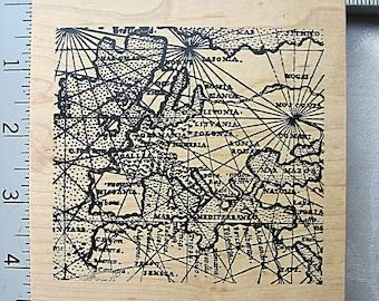 RARE XL Toybox Ancient Map DESTASH Rubber Art Stamp, Used Rubberstamp