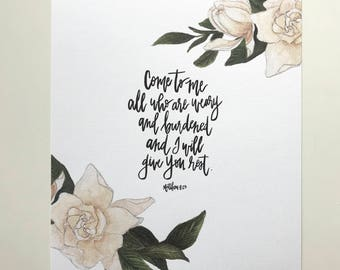 Matthew 11:28 Hand Lettered Art Print