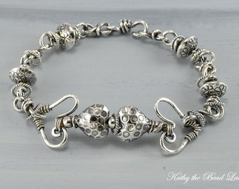 Sterling Silver Bracelet -Sterling Silver Heart Wire and Karen Hill Tribe Bracelet - KTBL
