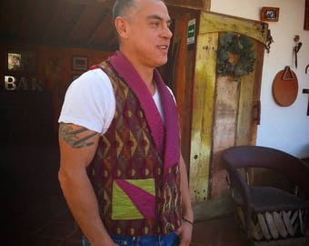 Vest, Double breasted/ Waist Coat/ Vest Fuchsia/ Brown/ Acid Green -Size Large
