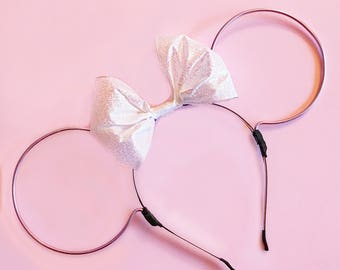 White Glitter Bow and Lilac Wire Mouse Ears Headband