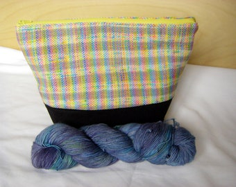 OOAK Jumbo Knitting Project Bag with Hand Woven Fabric / Cotton Lined Wedge Project Bag -- FREE SHIPPING in Canada