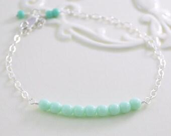 Mint Green Bracelet, Sterling Silver, Pastel Czech Glass Bead Row, Adjustable Length, Delicate Beaded Jewelry
