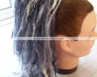 Black, White, Grey Single Hairfall Piece Wool Cyber Industrial Gothic Rave Hair Accessories Dreads Temporary Hippy Steampunk Lolita