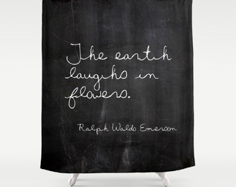 Emerson Quote Shower Curtain, Inspirational Decor, Shabby Chic Shower Curtain, Cottage Decor, Farmhouse Chic, Housewarming, Gifts for Her