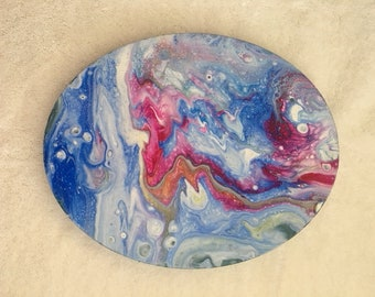 "Acrylic Poured Painting 8 x 10"" oval on Canvas Red, White and Blue"