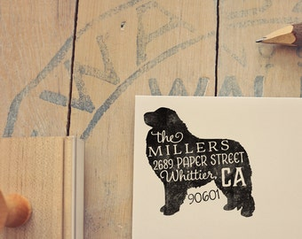Great Pyrenees Return Address Stamp, Housewarming & Dog Lover Gift, Personalized Rubber Stamp, Wood Handle