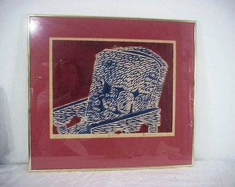 "Mid Century - Original Woodcut Woodblock, ""Chair"" Artist Proof, Signed, Framed, Fabulous!"