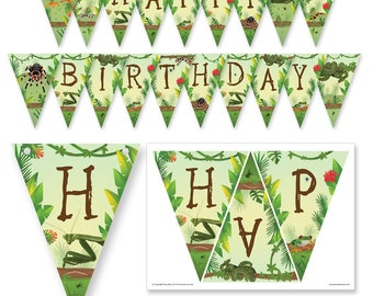 Creepy Crawly / reptile / insect party HAPPY BIRTHDAY Bunting PDF Download