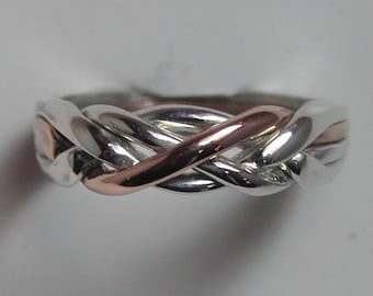 10K Rose Gold/Sterling 4 Band Puzzle Ring
